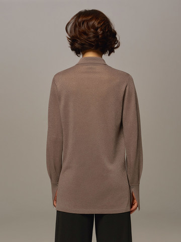Женский джемпер серо-коричневого цвета на пуговицах - фото 2