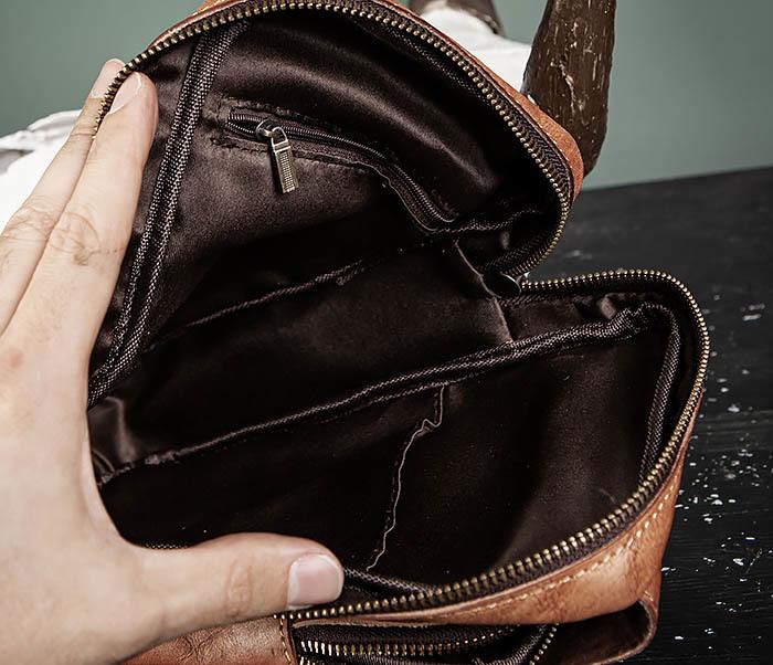 BAG444-2 Кожаный рюкзак с одной лямкой через плечо фото 15