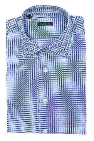 Белая рубашка в фиолетовую клетку с зелёным геометрическим узором