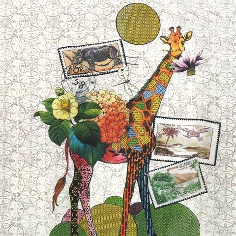 Детская портьерная хлопковая ткань Жираф