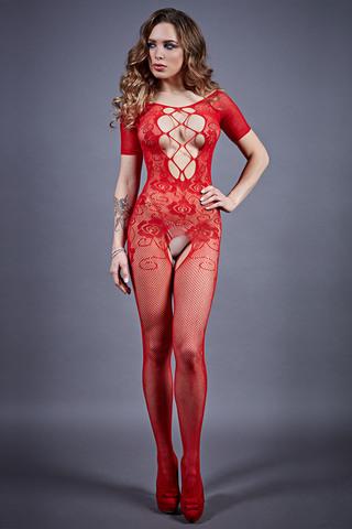 Боди-комбинезон 04918 красного цвета с кружевом фото