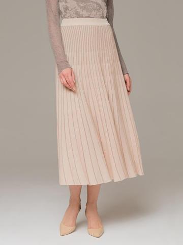 Женская юбка-миди бежевого цвета - фото 3