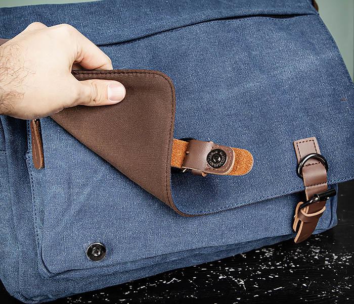 BAG504-3 Мужской портфель из плотного текстиля синего цвета фото 10
