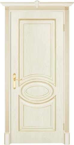 Дверь Prestigio Лувр-4, цвет шпон эмаль слоновая кость/патина золото, глухая