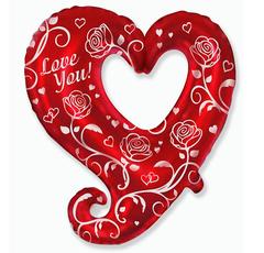 Шар Сердце Love You Сердце с розами