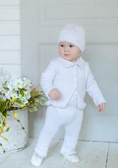 Лапушка. Комплект кофточка, штанишки и шапочка, белый
