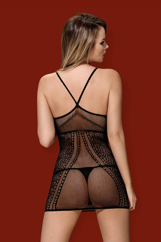 Эротическое мини-платье сетка черного цвета