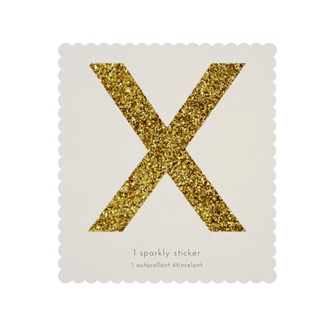Стикер X, мерцающее золото