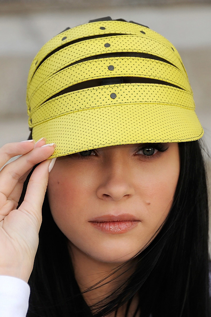 HeadWearStudio кожаная кепка Perforated Yellow & Black Cap