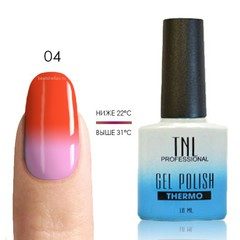 TNL, Термо гель-лак № 04 - коралловый/розовый, 10 мл