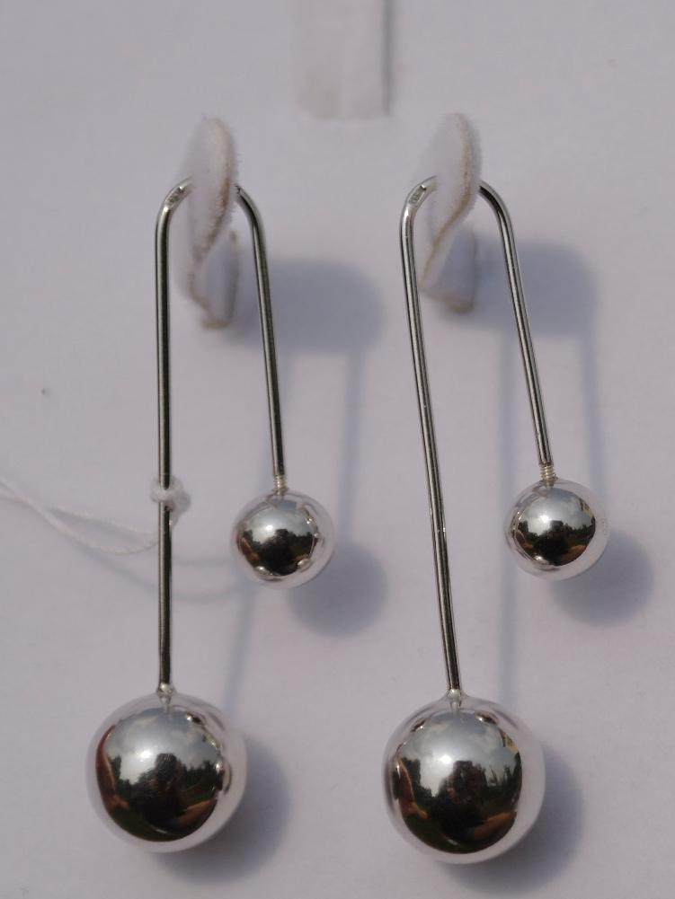Протяжки жесткие с 2 шариками (серьги из серебра)