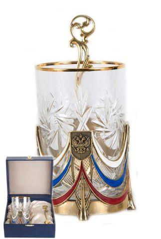 Подстаканник Державный(цвет, стакан хрусталь)