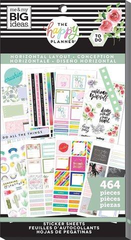 Блокнот со стикерами для ежедневника -Happy Planner Sticker Value Pack-Horizontal, 464шт