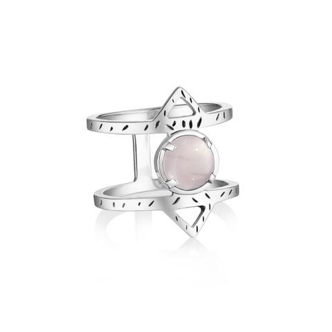 Кольцо ATHENA - Розовый кварц