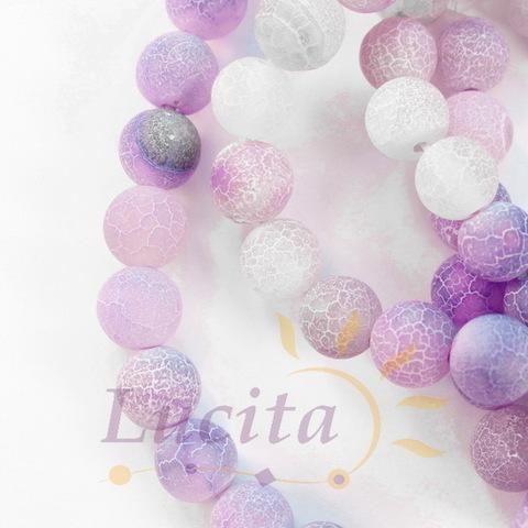 Бусина Агат матовый (тониров), шарик, цвет - фиолетовый, 8 мм, нить (светлые)