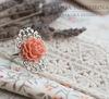 """Кабошон акриловый """"Чайная роза"""", цвет - пепельно-розовый, 18х16 мм (Кольцо с розой. Пример)"""