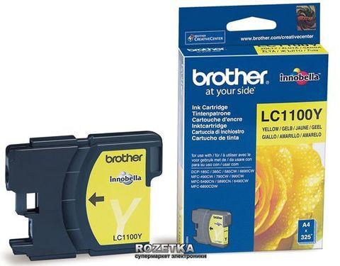 Brother LC1100Y желтый картридж для принтеров Brother DCP-185C/385C, FC-490C/6890CN/990CW. Ресурс 325 стр. (5% заполнение)