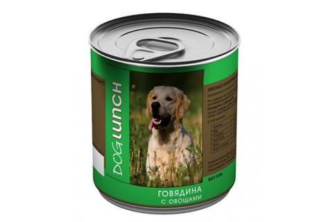ДОГ ЛАНЧ консервы для собак (говядина с овощами) 750г