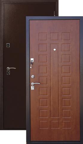 Дверь входная Меги ДС-181, 2 замка, 1,2 мм  металл, (медь+итальянский орех)