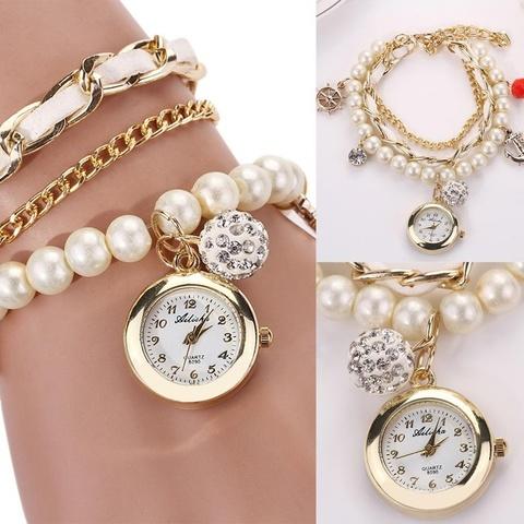 Часы-браслет с жемчугом (белый)