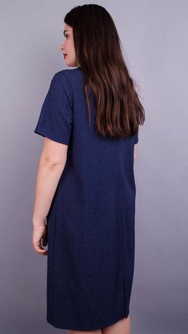 Вирта креп. Женское повседневное платье больших размеров. Синий.