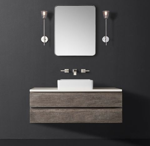 Monterey Single Extra-Wide Floating Vessel Vanity - Stone Top - Wall Mount