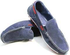 Мужские летние мокасины с перфорацией Faber 142213-7 Navy Blue.