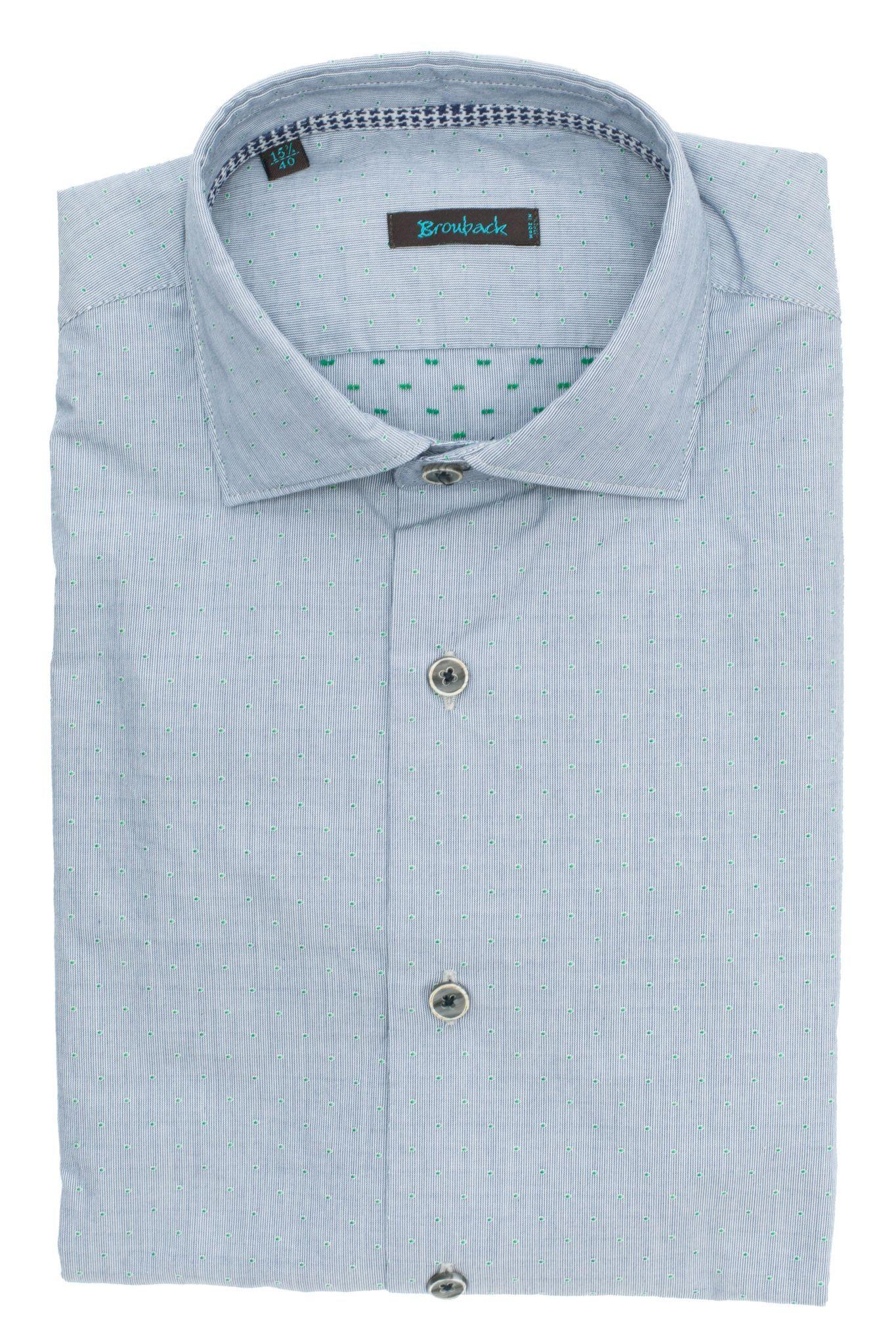 Светло-серая рубашка в мелкую полоску и с мелким зелёным рисунком