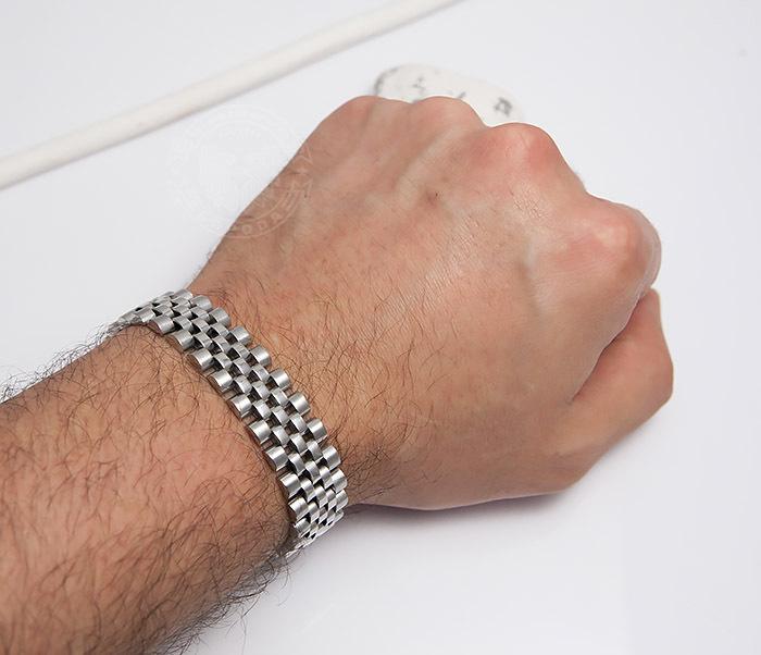 BM466 Широкий мужской браслет из стали на застежке (19 см) фото 07