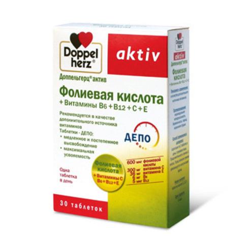Витамины Доппельгерц® актив Фолиевая кислота + Витамины В6+В12+С+Е