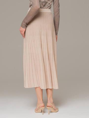 Женская юбка-миди бежевого цвета - фото 2