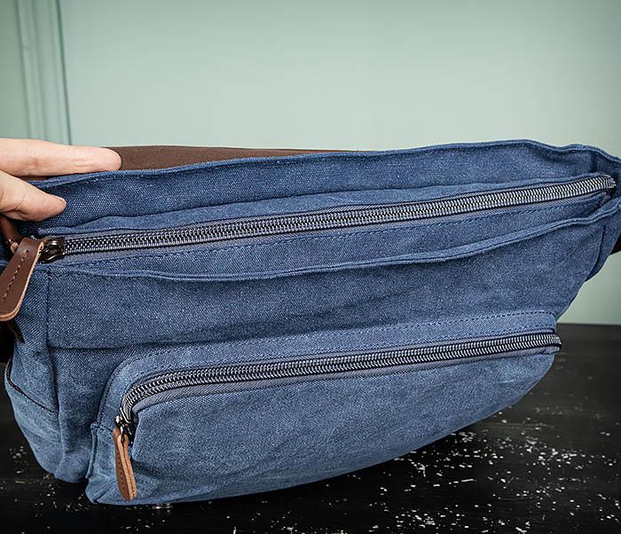 BAG504-3 Мужской портфель из плотного текстиля синего цвета фото 11