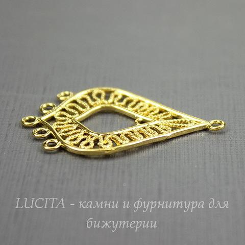 "Коннектор ""Капля"" (1-5) 36х22 мм (цвет - золото)"