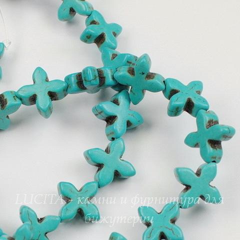 """Бусина Говлит (тониров), """"Крестик"""", цвет - бирюзовый, 15х14х5 мм, нить"""