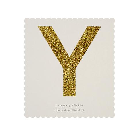 Стикер Y, мерцающее золото