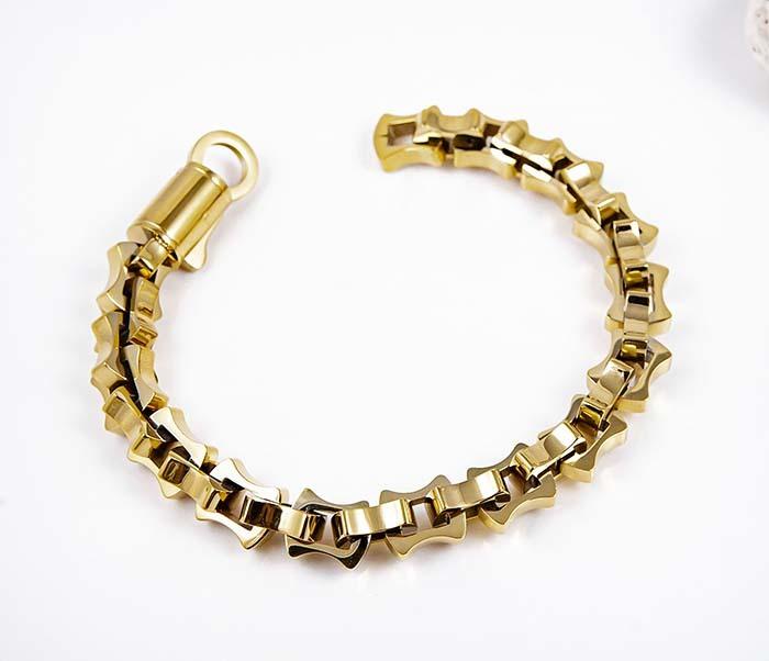 BM597-2 Мужской браслет цепь из стали золотистого цвета фото 02