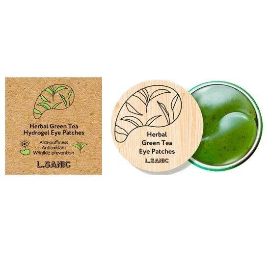 Патчи гидрогелевые для области вокруг глаз с экстрактом зеленого чая L.Sanic Herbal Green Tea Hydrogel Eye Patches 60шт