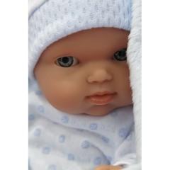 Munecas Antonio Juan Кукла-младенец Роберто на голуб. одеялке, 21см