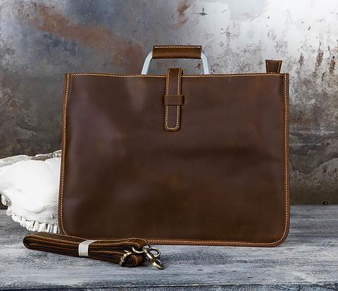 Мужской портфель с ремнем на плечо из толстой кожи