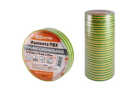 Изолента ПВХ профессиональная 0,18х19мм Желто-зеленая 20м TDM