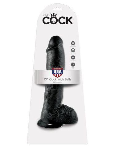 Фаллоимитатор-гигант на присоске с мошонкой черный King Cock 10 Cock with Balls Black фото