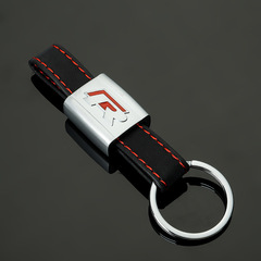 Кожаный брелок  для ключей с логотипом автомобиля Фольксваген Р (Volkswagen R) красный