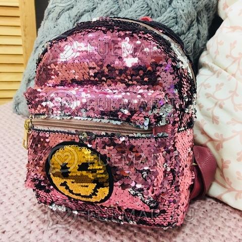 Рюкзак с пайетками с двусторонними пайетками нашивкой Смайлик меняет цвет Розовый-Серебристый