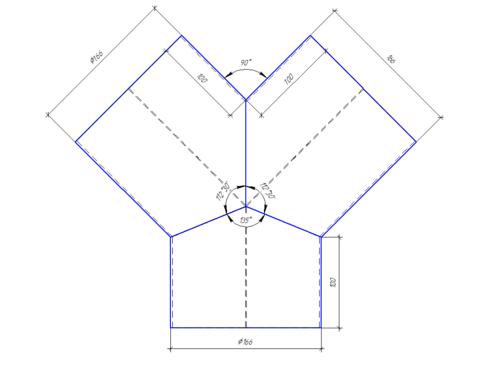 Тройник/штаны  Y-образные 160 мм полипропилен