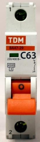 Автоматический выключатель (автомат) 1Р 63А ВА 47-63 TDM / EFK