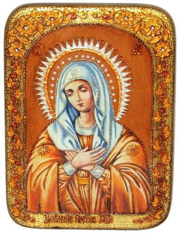 Инкрустированная икона Образ Божией Матери Умиление Серафимо-Дивеевская 29х21см на натуральном дереве в подарочной коробке