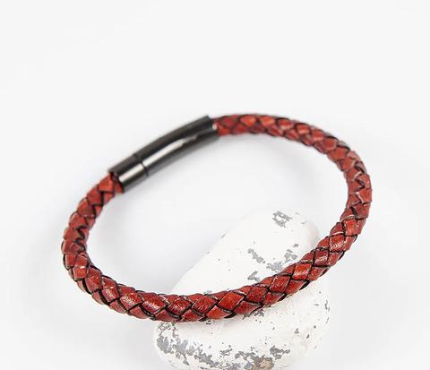 Мужской красный браслет из кожаного шнура