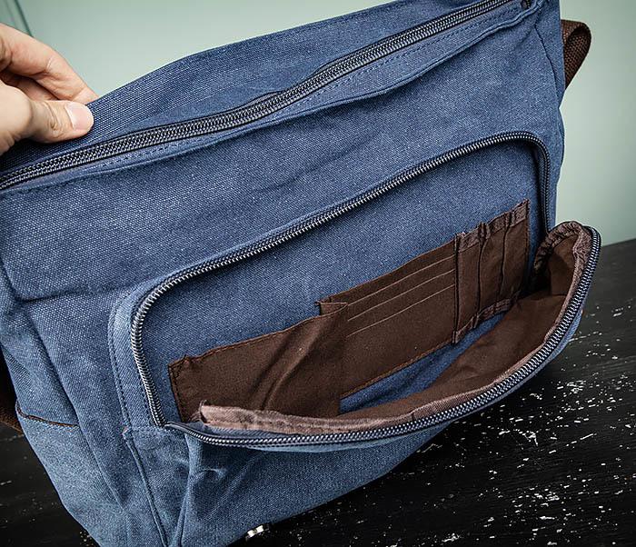 BAG504-3 Мужской портфель из плотного текстиля синего цвета фото 12