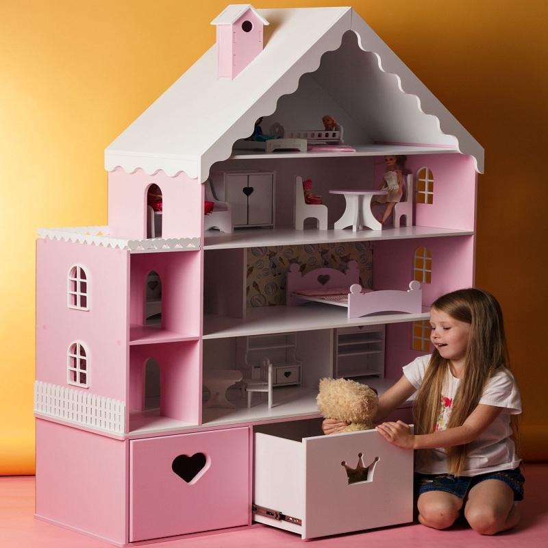Кукольный домик для кукол барби, винкс. Дом-полка розовый Р-5 ... | 800x800