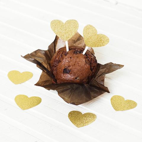 Украшение для пирожных Gold Hearts